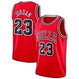 A-lee Maglia da Uomo -Michael Jordan- Bulls #23 Jersey, Maglia Vintage da Giocatore di Basket, Ricamo Traspirante e Resistente all'Usura T-Shirt da Uomo (Rosso-1, M)