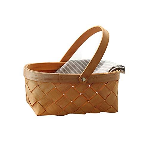 Vosarea - Cesta de mimbre con asa, cesta para fruta trenzada para cocinas, artesanía (mediana)