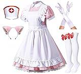 Japanese Anime Pink Nurse Lolita French Maid Apron Fancy Dress Cosplay Costume Gloves Headwear Socks Set(Plus Size 5XL)