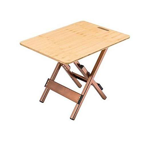 Tablas del bocado cuadro de la tabla al aire libre plegable plegable que acampa Tabla de bambú con aleación de aluminio plegable de café laterales for camping, picnic, patios, barbacoa (Color: madera,