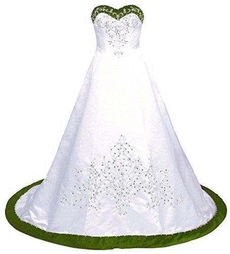 Edaier Women's Court Train EmbroideGreen Satin Wedding Dress Bride Gown Size 16 Ivory Green