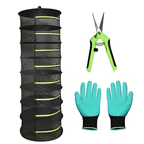 Vumdua Herb Drying Rack, 8 Layer Mesh Drying Rack for Herbs, Collapsible Hanging Drying Rack Net with W/Green Zipper, Pruning Shears, Gardening Glove for Drying Flowers, and Bulbs, Mushrooms, Fish