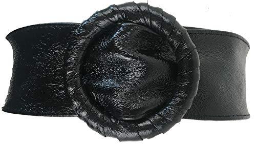 FISH IN THE SEA Echtleder Metallic Schwarz Boho Gürtel 7cm Taillen und Hüftgürtel Ibiza Lederschliesse, sehr soft