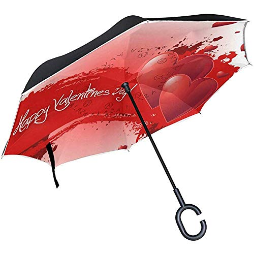 Reverse Umbrella Custom Personalized Valentinstag Inverted Umbrella Reversible für Golf Car Travel Regen Outdoor Schwarz