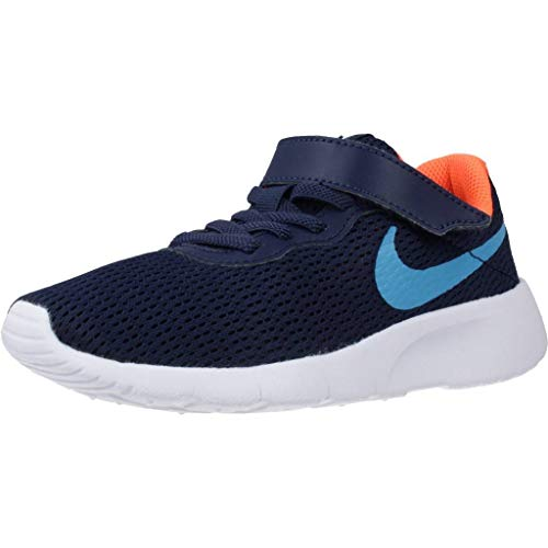 Nike Unisex-Child Tanjun (PSV) Sneaker, Midnight Navy/Laser Blue-Hyper Crimson, 33.5 EU