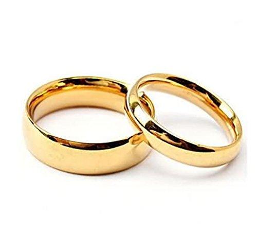 Daesar 2 x Trauringe Paar Ringe Edelstahl Bandringe Hochglanzpoliert Rund Breite 6/4 MM Eheringe Gold Trauringe Frauen Männer Damen Gr.60 (19.1) & Herren Gr.62 (19.7)