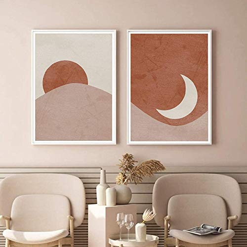 FGHSD Kunstplakat Sonne und Mond Abstrakte Plakate Boho Terrakotta-Druck Mitte des Jahrhunderts Wandkunst Leinwandbilder Wohnzimmer Dekor2 Stück 20x30cm ohne Rahmen