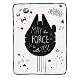 Lambs & Ivy Star Wars Millennium Falcon Black/White Soft Sherpa Baby Blanket