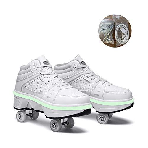 Patines Ruedas Para Mujer LED 2 En 1 Patines En Línea Para Niños, Zapatos Con Ruedas, Zapatos De Skate, Patines Ajustables, Patines, Zapatillas Patinaje, Regalos Para Niños,Weißes High-Top-EU33/UK1