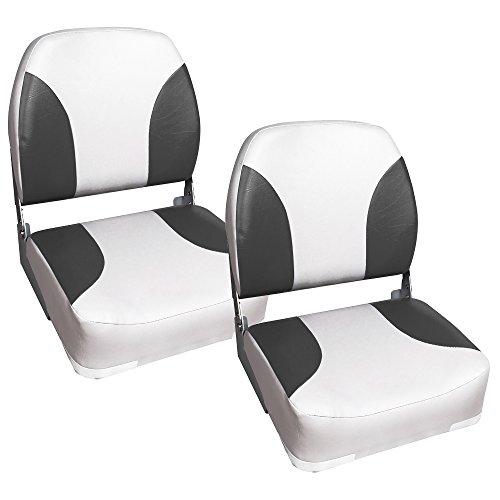 [Pro.tec] 2x asientos de barco / de cabina, de piel sintética, resistente al agua / tapizados / Resistente a rayos UVA / plegables (gris - blanco)