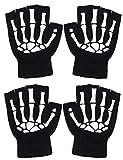 Simplicity Skeleton Gloves Fingerless Costume Half Finger Glow in The Dark Gloves, 2 Pairs