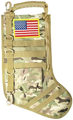 SPEED TRACK Tactical Christmas Xmas Stocking W/Handle, Perfect Mantel Decoration, Gift for Veterans Military Patriotic and Outdoorsy People (CP Camouflage)