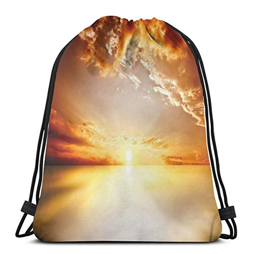 Jiger Drawstring Tote Bag Gym Bags Storage Backpack, Majestic Sunset View Tranquil Horizon Dramatic Skyscape Clouds Ocean Outdoors,Very Strong Premium Quality Gym Bag for Adults & Children