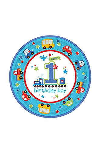 Amscan Lot de 8 Assiettes 1an garçon All Aboard Birthday
