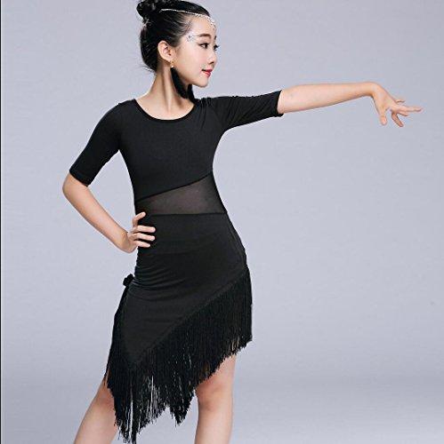 Kinder Latein Tanz Röcke Mädchen Tanz Kleidung Tanz Kleidung Wettbewerb rot/schwarz, 130cm, Black