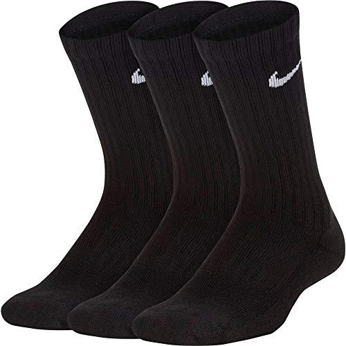 Nike Performance Cushioned Crew, Calzini Bambini (3 paia), Black/White,S (34-38 EU)