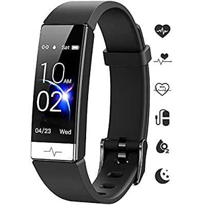 GOGUM Fitness Tracker, Heart Rate Monitor IP68 Waterproof Activity Tracker HRV Health Watch SPO2 Blood Oxygen Blood Pressure with Sleep Monitor and 11 Sport Modes for Women and Men (Black)