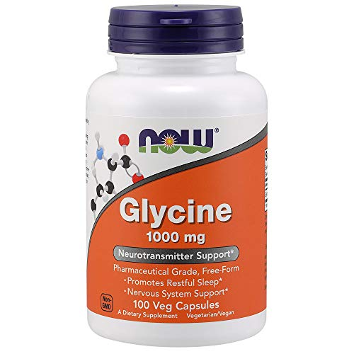 NOW Supplements, Glycine 1,000 mg Free-Form, Neurotransmitter Support*, 100 Veg Capsules