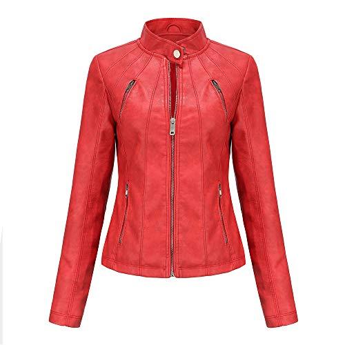 QinzQuic Mujer Otoño Thin Chaquetas Manga Larga Biker Coat Faux Cuero Zip up Tops Slim fit Red-3XL