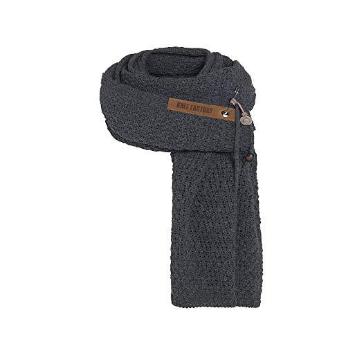 Knit Factory - Luna Schal - Strickschal Für Damen und Herren - XL Schal mit Wolle - 200 x 50 cm - Hochwertige Qualität - Anthrazit