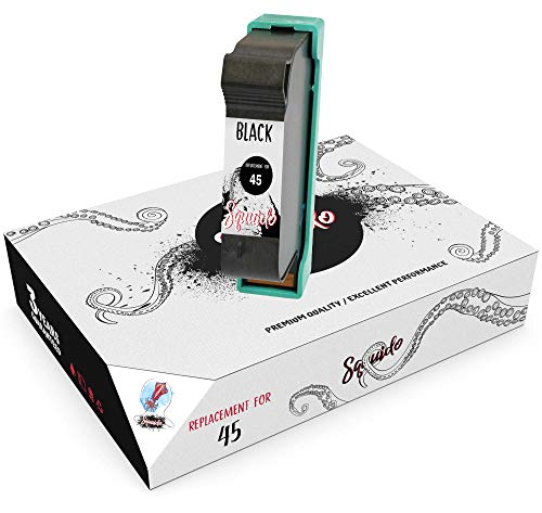 Squuido Remanufactured Cartucho de Tinta 45 Negro Compatible con HP Officejet 1170 G55 G85 G95 K60 K80 Photosmart 1000 1100 1115 1215 1218 1315 P1000 P1100 | Alto Rendimiento