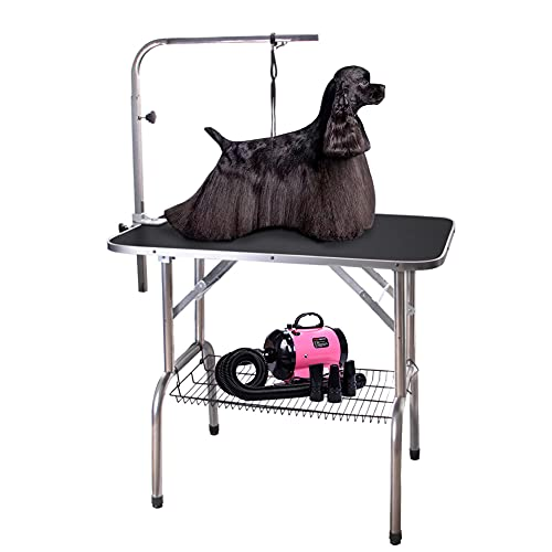 Polar Aurora Pingkay 36'' Black Heavy Duty Pet Professional Dog Show Stainless Steel Foldable Grooming Table w/Adjustable Arm & Noose & Mesh Tray