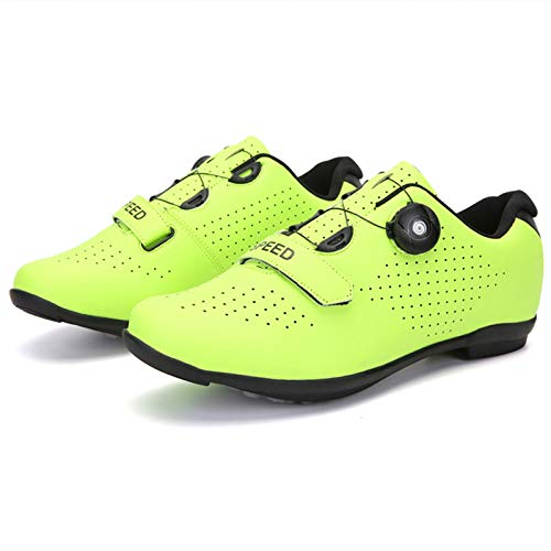 Honeyhouse Scarpe da Bici da Strada da Uomo Scarpe da Ciclismo con Tacchetti Compatibili Scarpa Peloton Con SPD e Delta per Scarpe da Ciclismo con Pedale di Bloccaggio da uomo (EU46-UK12,Green)