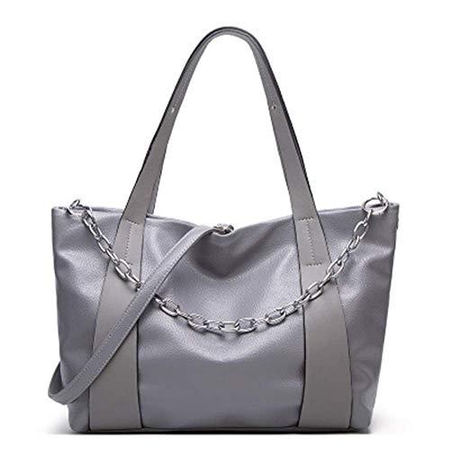 XYAZ Damenmode Kette Dekoration Umhängetasche Nähen tragbare einfache Einkaufstasche,grau