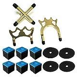 Clyhon - Soporte para cabeza de puente de taco de billar de 13 piezas, araña corta/araña larga/cruz, 6 bloques de tiza y 4 accesorios de taco de billar.