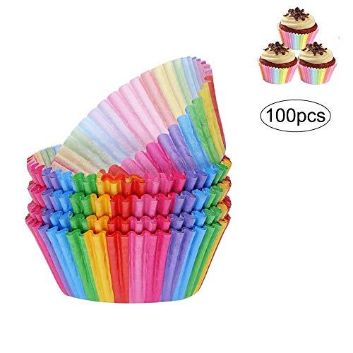 Heatigo 100 Stück Muffin Backformen Cupcake Wrapper Regenbogen Papier Fällen Liners Muffinförmchen für Dessert Backen Geburtstag Hochzeit Party