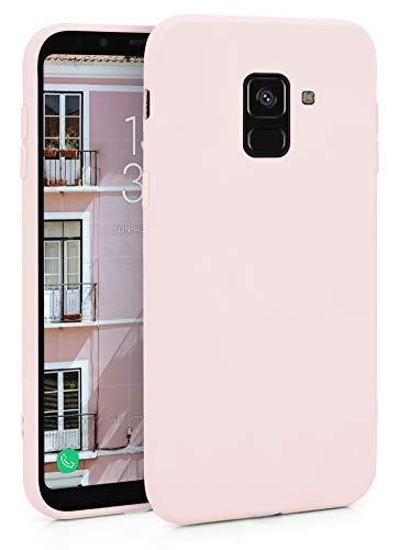MyGadget Funda Slim en Silicona TPU para Samsung Galaxy A8 (2018) - Anti Polvo - Carcasa Mate Protectora Ultra Delgada 1mm Suave Cómoda y Ligera - Rosa Claro