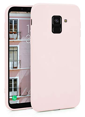 MyGadget Funda Slim en Silicona TPU para Samsung Galaxy A8 (2018) – Anti Polvo – Carcasa Mate Protectora Ultra Delgada 1mm Suave Cómoda y Ligera - Rosa Claro