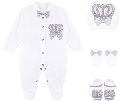 Lilax Baby Boy Jewels Crown Layette 4 Piece Gift Set 0-3 Months Gray