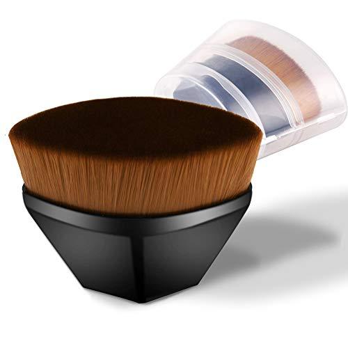 Pinceau à fond de teint Kabuki pour fond de teint et fond de teint - Pinceau à fond de teint - Pour mélanger liquide, crème ou poudre sans défaut - Avec boîte de rangement noir 1 PCS
