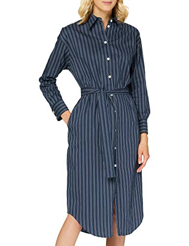 Seidensticker Damen Kleid Langarm Gestreift Multi Kleid, Dark Sapphire, 38