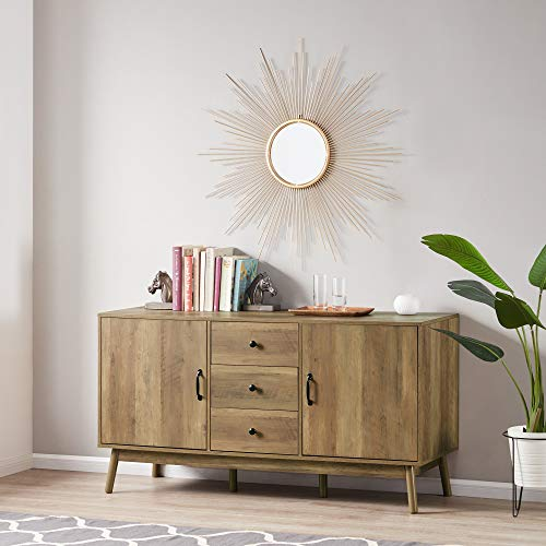 """BELLEZE Hughes Modern 57"""" Sideboard Buffet Table TV Stand Wood Stand with 2 Cabinet Doors and 3 Drawers, Rustic Oak"""