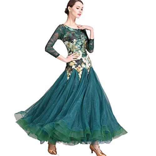 MYF Vestido de Baile para Adultos, Vestido de cóctel vals, Cuello Redondo, Manga Larga, Falda con Estampado de Moda Disfraz de vals Carnaval Vestido de Noche (Color : Green, Size : XXL)