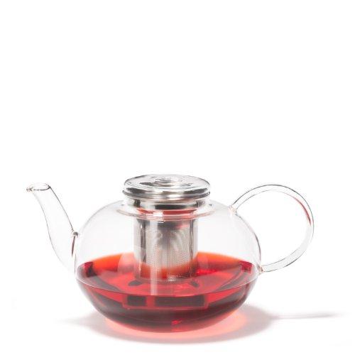 Leonardo Moon Teekanne, mit Deckel und Teesieb, 2 l, handgefertigt, hitzebeständiges Glas und Edelstahl, 030527