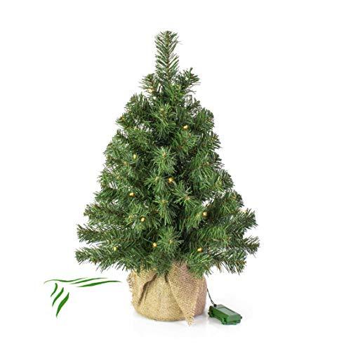 artplants.de Mini Weihnachtsbaum WARSCHAU, LED's, Jutesack, 60cm, Ø 40cm - Künstlicher Christbaum