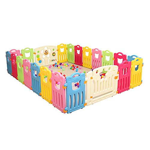Read About YANGMAN 22 Panel Safety Play Yard for Kids Toddler Baby Colorful Cute Kids Playpen with G...