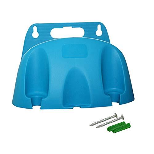 SH Soporte de manguera azul para montar en la pared, soporte para manguera de jardín de PVC fácilmente puede contener 66 pies de manguera de 1.57 pulgadas, soporte para colgador de manguera de jardín, diseño curvo