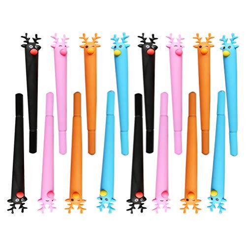 NUOBESTY 24Pcs Weihnachten Kugelschreiber Stift Hirsch Form Gel Tinte Stift 0. 5Mm Student Schreibstift für Büro Schule Briefpapier Geschenk Party Gefälligkeiten