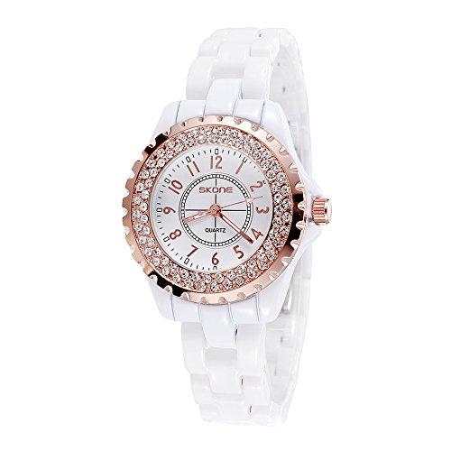 SKONE Damen Quarzuhr Keramik Strass Embedded Armband Verschluss Strass Armbanduhr