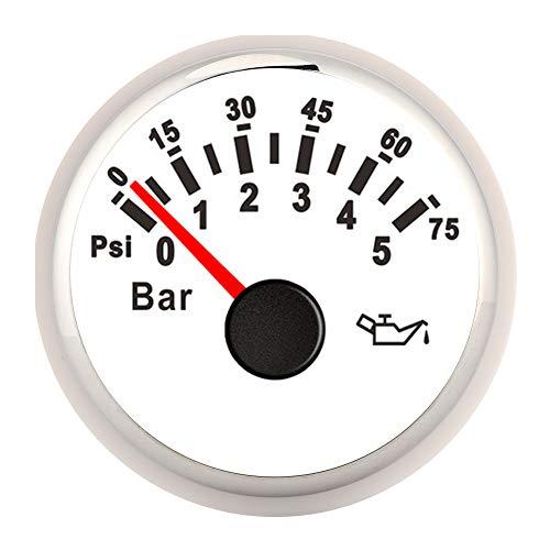EVTSCAN 52MM 0-10BAR 오일 압력 측정기 145PSI LED 백라이트 다이얼 악기 자동 오토바이 보트 트럭 12V   24V (흰색)
