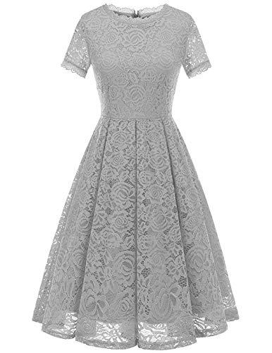 DRESSTELLS Damen Midi Elegant Hochzeit Spitzenkleid Kurzarm Rockabilly Kleid Cocktail Abendkleider Silver L