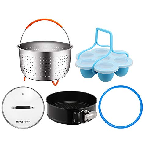 [Basic Kit] House Again Accessories Set for InstaPot, Universal Compatible with 5/6 Qt Pressure Cookers- Original Sturdy Steamer Basket with Instant Pot Accessories, Dishwasher Safe