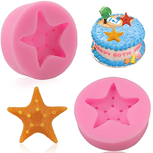 2 Pcs Starfish Silicone Fondant Mold Food Grade Silicone Molds for Chocolate Candy Cake Decorating Resin Mold Epoxy