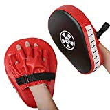 1 par Almohadillas de Boxeo Objetivos a Mano Handguards Boxing Paos Muay Thai Kick Boxing Martial Arts Kick Pad Training Color Rojo