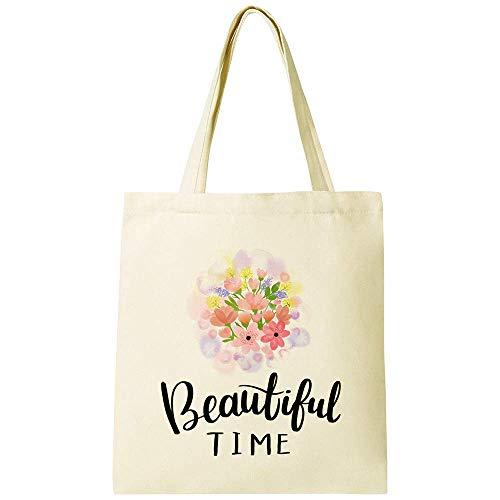 CUNYA Personalizar bolsa de lona de 38 x 40 cm, reutilizables, con flores, hermosas citas de tiempo, bolsas de algodón lavables para mujer, color beige (estilo 1)