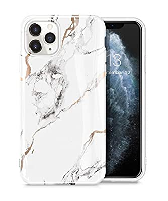 GVIEWIN Marble iPhone 11 Pro Case, Ultra Slim Thin Glossy Soft TPU Rubber Gel Phone Case Cover Compatible iPhone 11 Pro 5.8 Inch 2019 Release (White/Gold)
